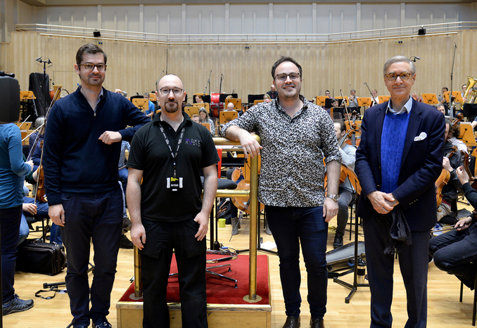 At the RSNO recording of the Carbon Symphony: Matthew Bennett (Producer), Hedd Mofett-Jones (Sound Engineer), Ben Gernon (Conductor) and David Earl (Composer). Credit: RSNO