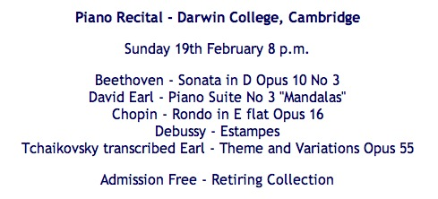 "Poster for concert by David Earl, Programme includes Beethoven Sonata in D Op 10 number 3, and David Earl Piano Suite Number 3, ""Mandalas"""