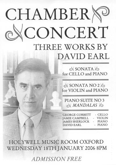 "Poster for concert by David Earl, with Jamie Campbell, James Sherlock, and George Corbett. Programme includes Sonata for Cello and Piano, Sonata number 2 for Cello and Piano, and Piano Suite Number 3, ""Mandalas"""