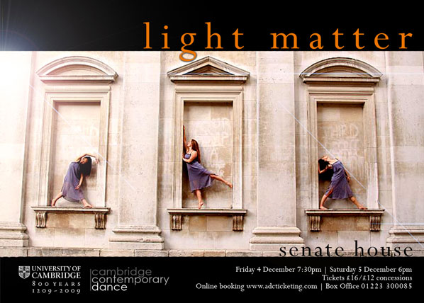Poster for light matter festival. Three female dancers pose in neoclassical blank window frames
