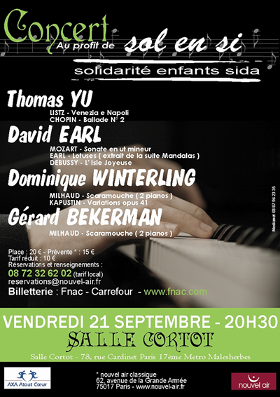 Poster for concert by David Earl and others at Salle Cortot, Paris
