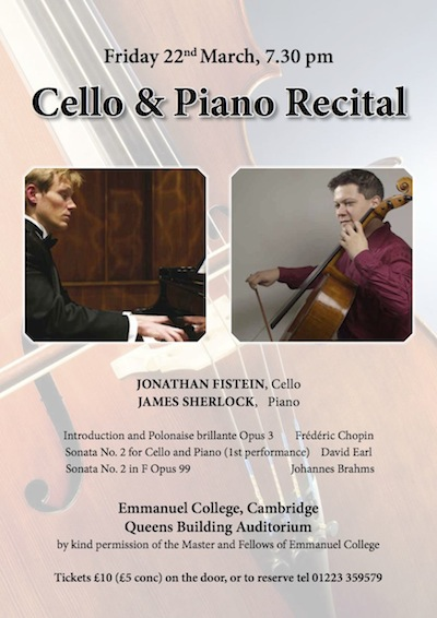 Poster for Cello recital by Jon Fistein and James Sherlock at Emmanuel College, Cambridge