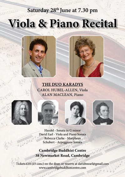 Poster for Viola and Piano recital by Duo Karadys, Cambridge Buddhist Centre, Cambridge