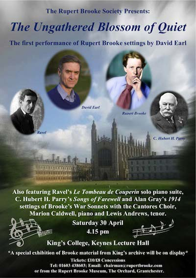 Poster for Rupert Brooke Song Cycle by David Earl at Kings College, Cambridge