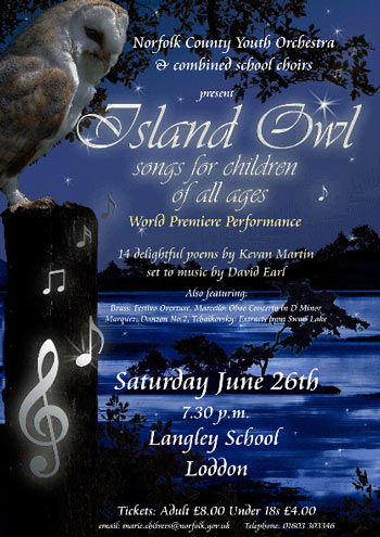 Poster for Island Owl at Langley School, Loddon, Norfolk
