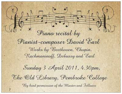 Ticket for Piano Recital by David Earl at Pembroke College, Cambridge